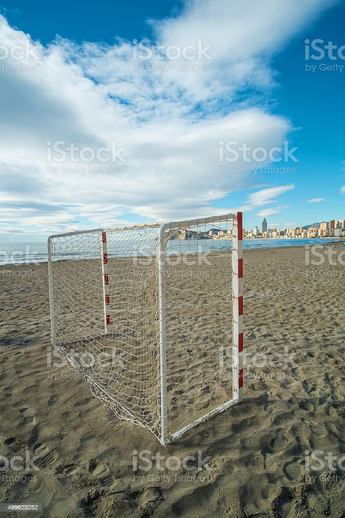 Beach soccer equipment stock photo