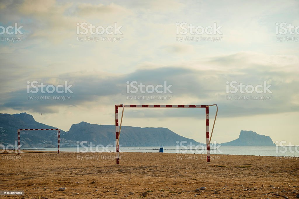 Beach  soccer goals stock photo