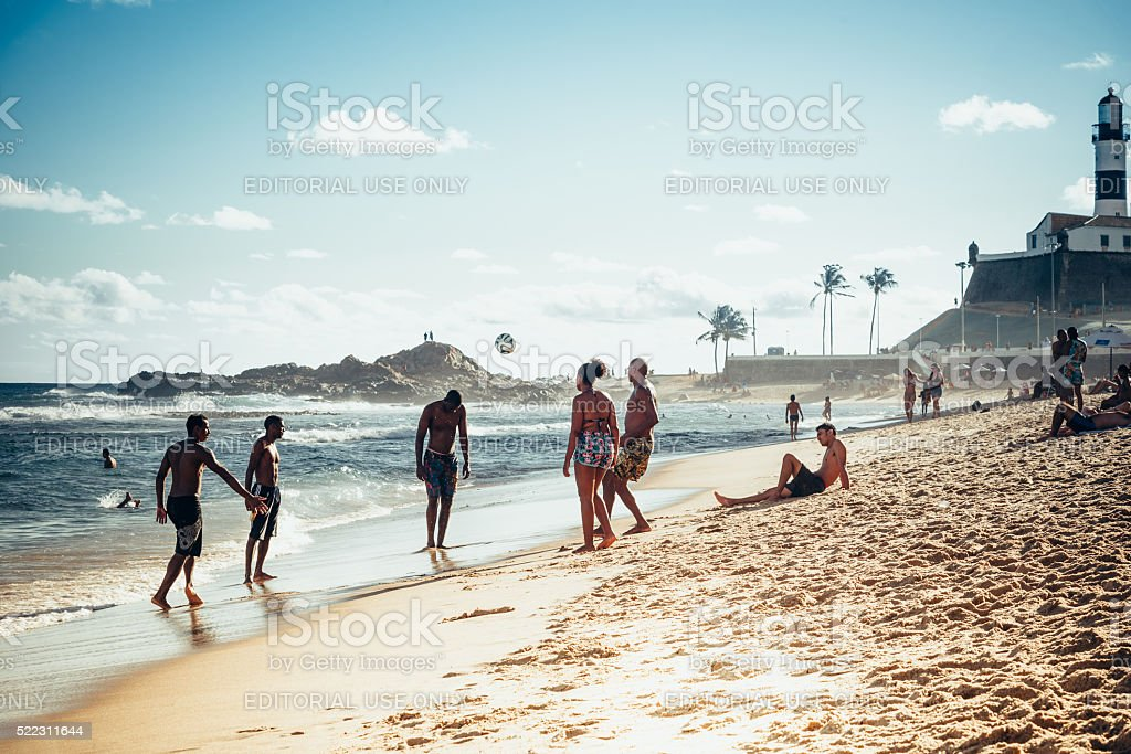 beach soccer players at Barra Beach in Salvador Brazil stock photo