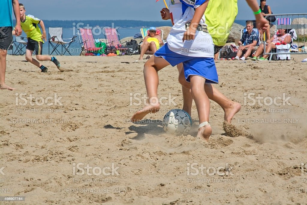 Beach soccer tournament game stock photo