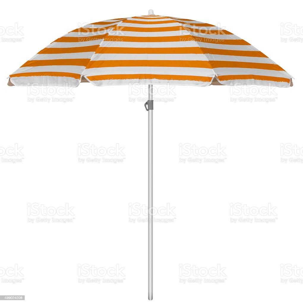 Beach striped umbrella - orange stock photo