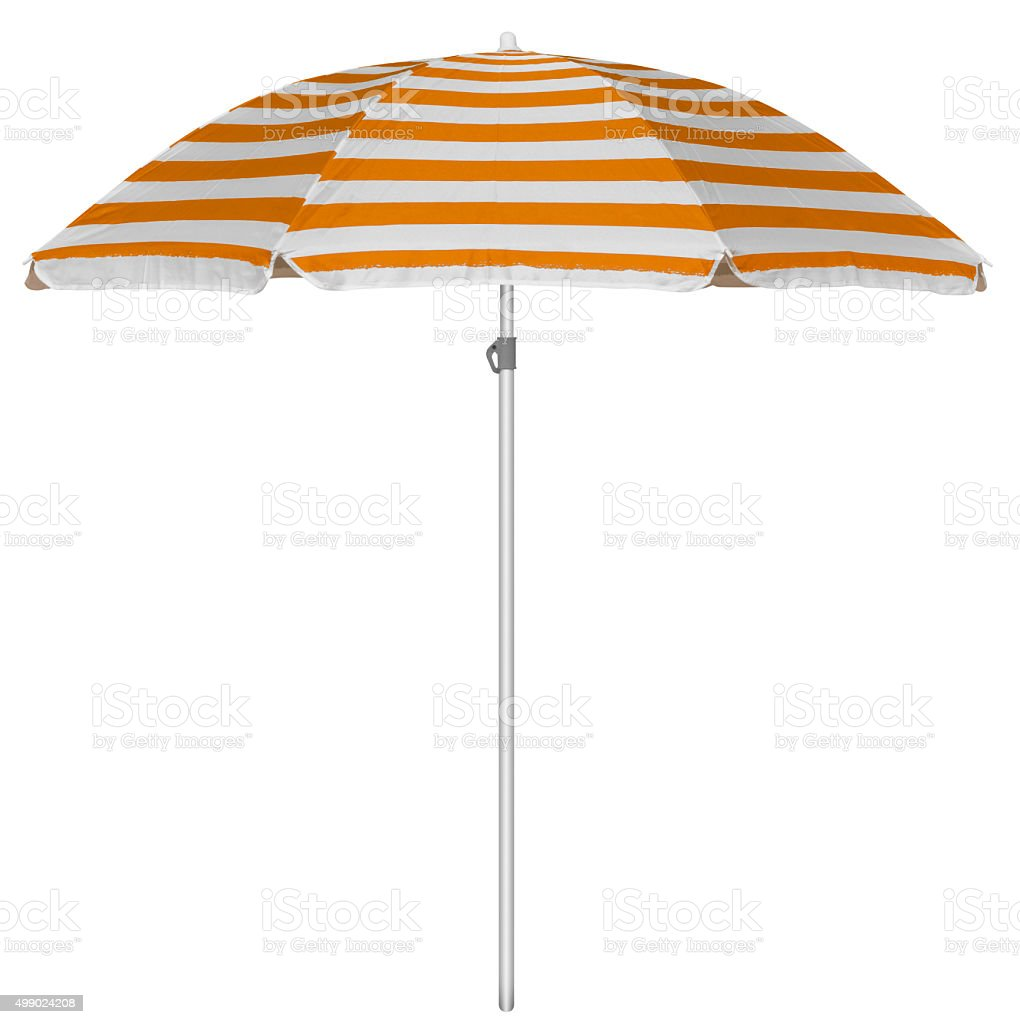 Beach striped umbrella - orange stock photo