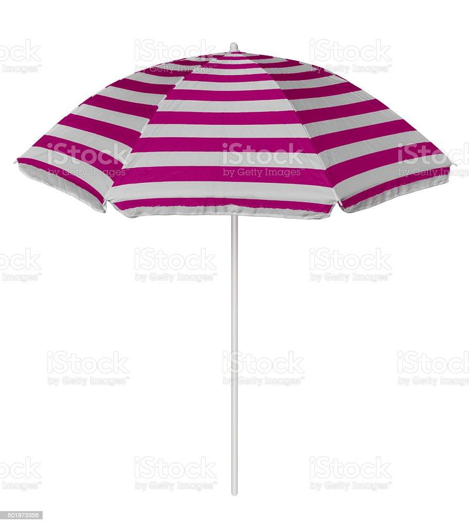 Beach striped umbrella - pink stock photo