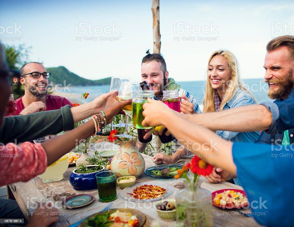 Beach Summer Dinner Party Celebration Concept stock photo
