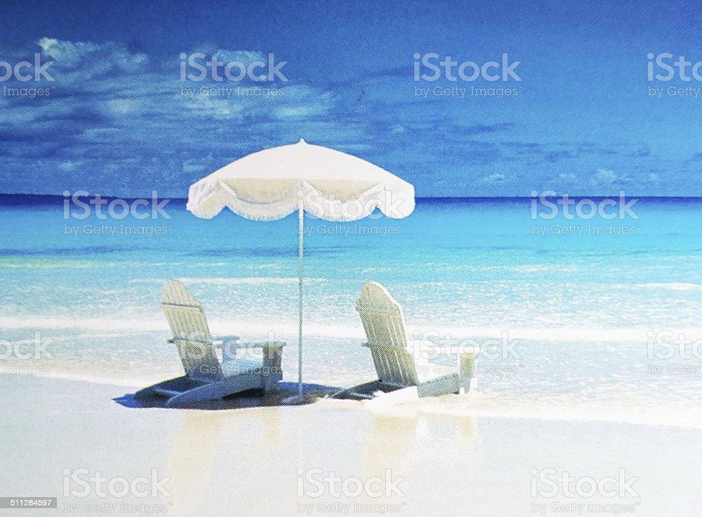 Beach summer umbrella stock photo