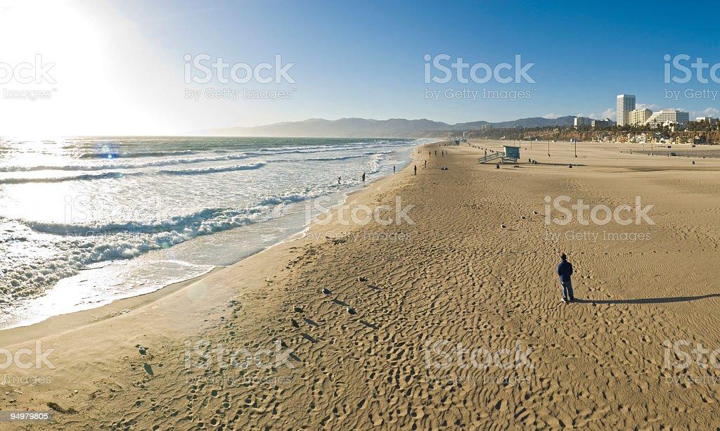 Beach sunlight and shadows stock photo