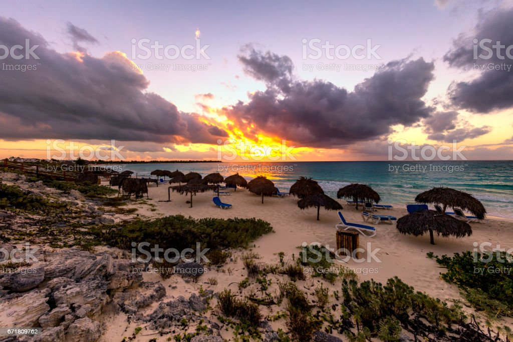 Beach sunrise at Cayo Largo, Cuba stock photo