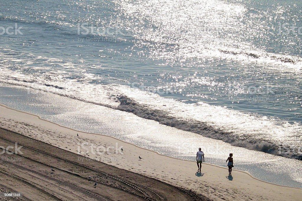 beach sunrise stroll royalty-free stock photo
