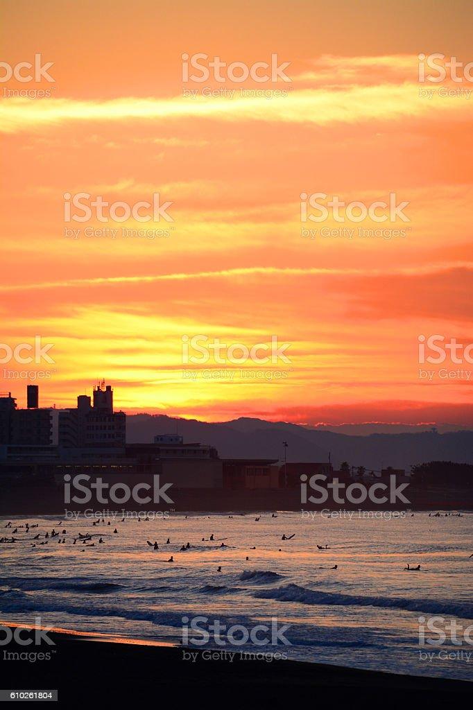 Beach sunrise,Shonan,Japan stock photo