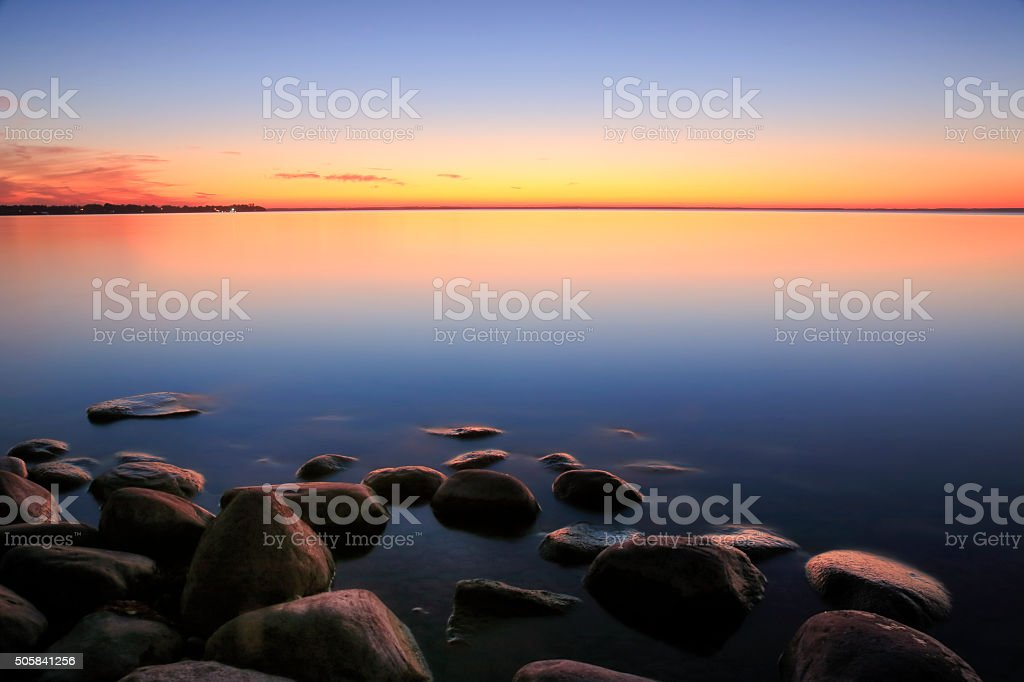 Beach Sunset Afterglow stock photo