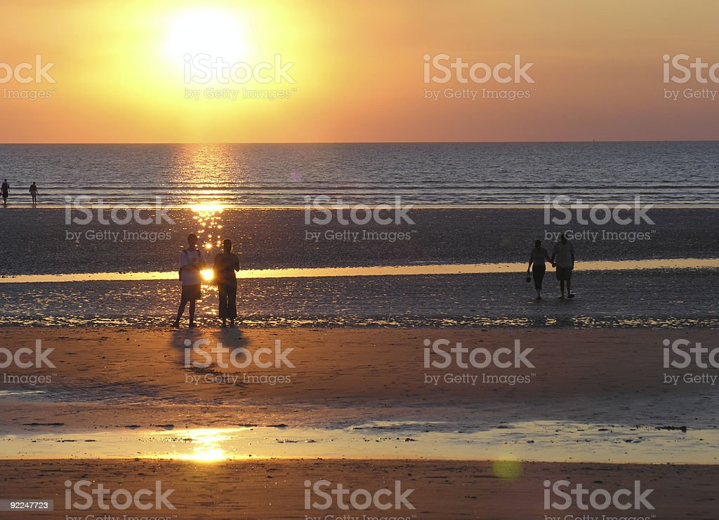 Beach sunset at Darwin stock photo