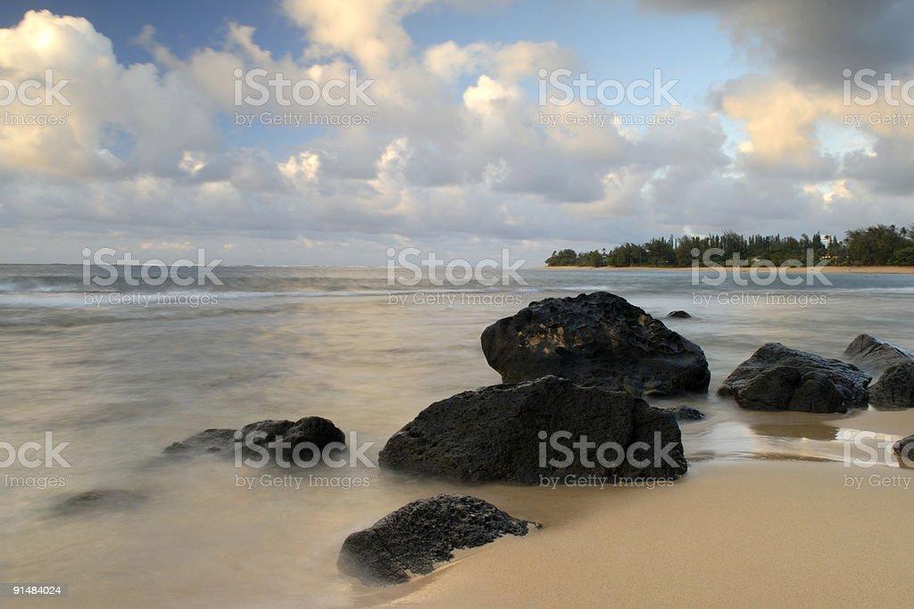 Beach Sunset at Haena royalty-free stock photo