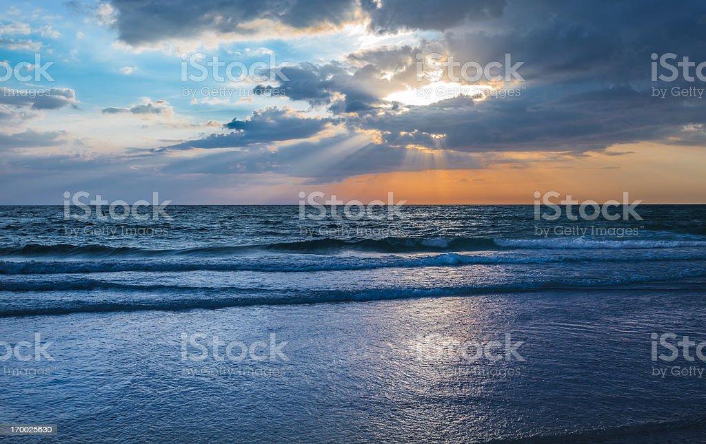 Beach Sunset at Twilight stock photo