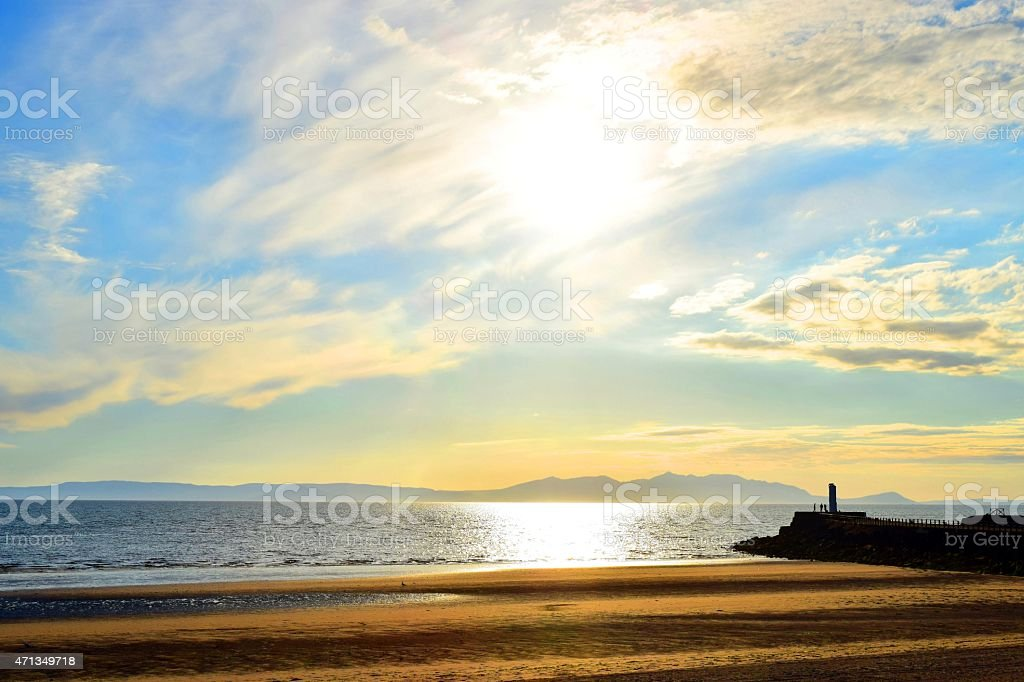 Beach Sunset from Ayr stock photo