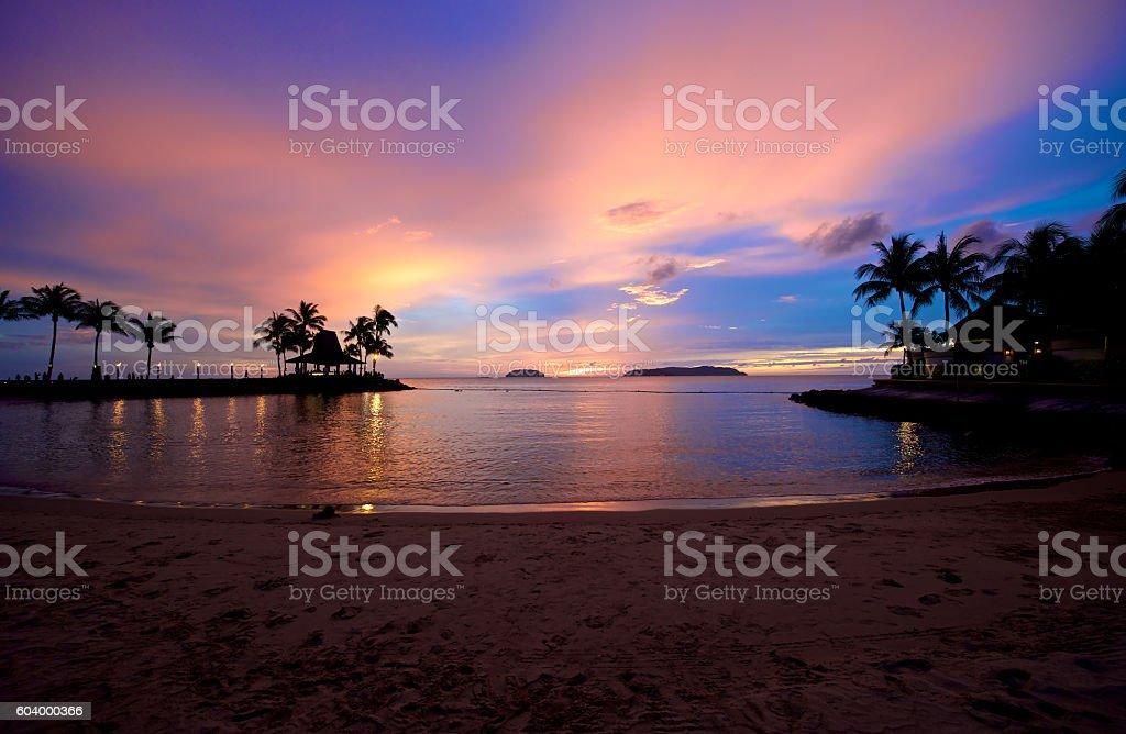 Beach Sunset in Sabah Malaysia stock photo