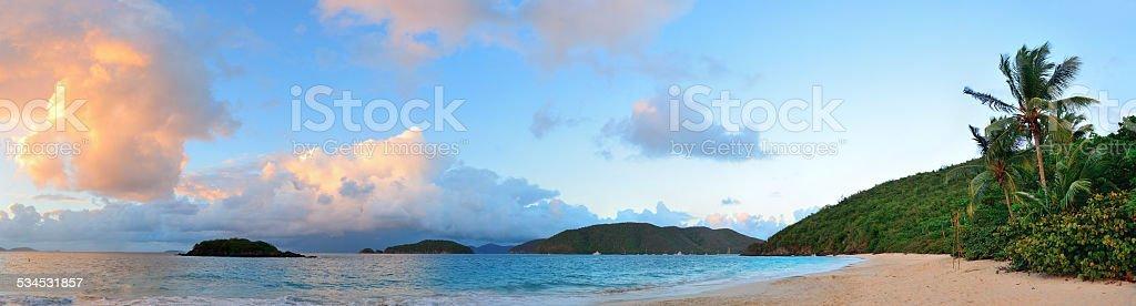 Beach sunset panorama stock photo