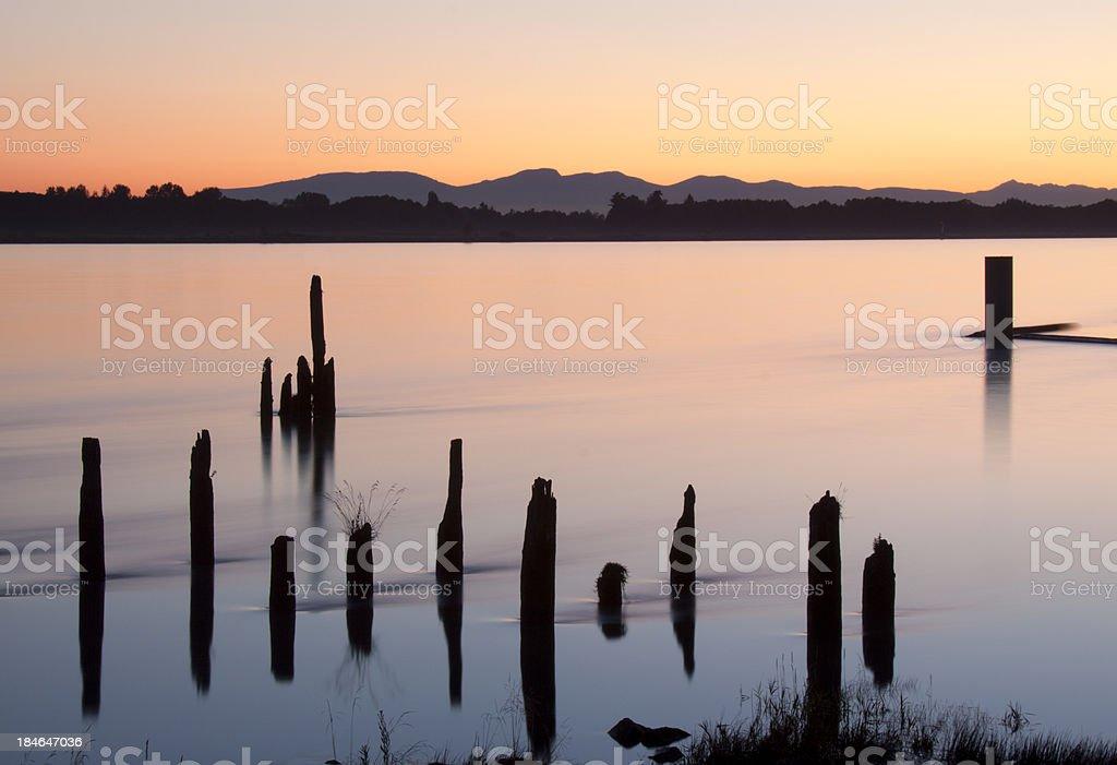 Beach sunset scene stock photo
