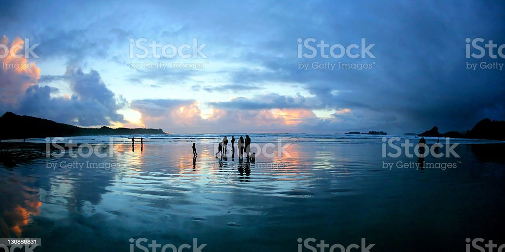 beach sunset silhouettes stock photo