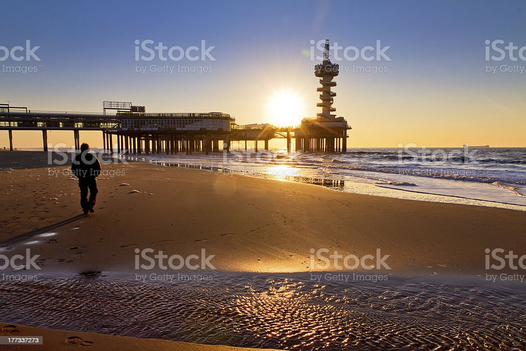 Beach sunset walk stock photo