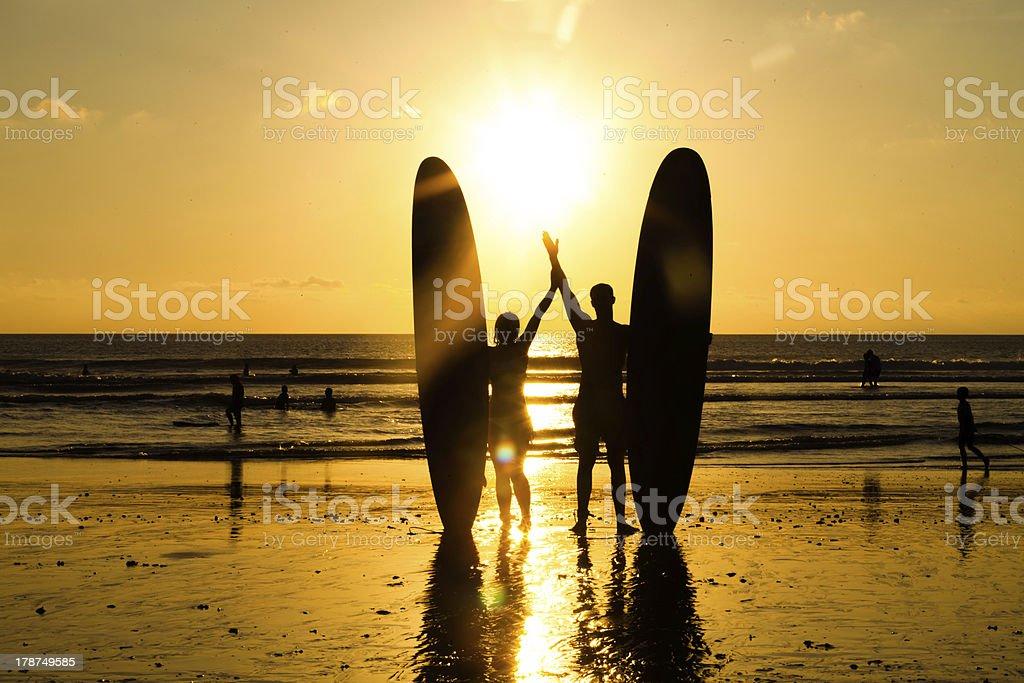 Beach surfer silhouette stock photo