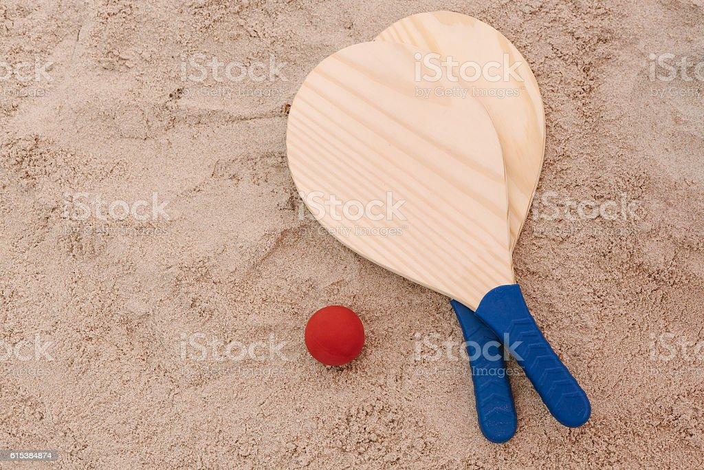 Beach tennis, beach paddle ball, matkot. Beach rackets and ball stock photo