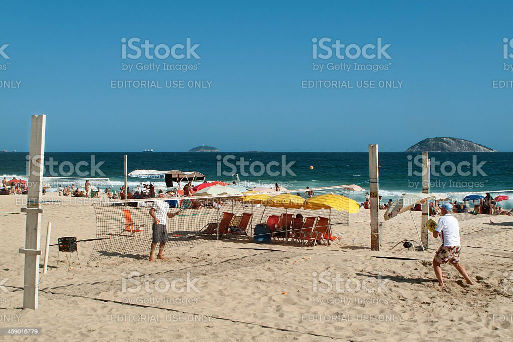 Beach tennis in Ipanema royalty-free stock photo
