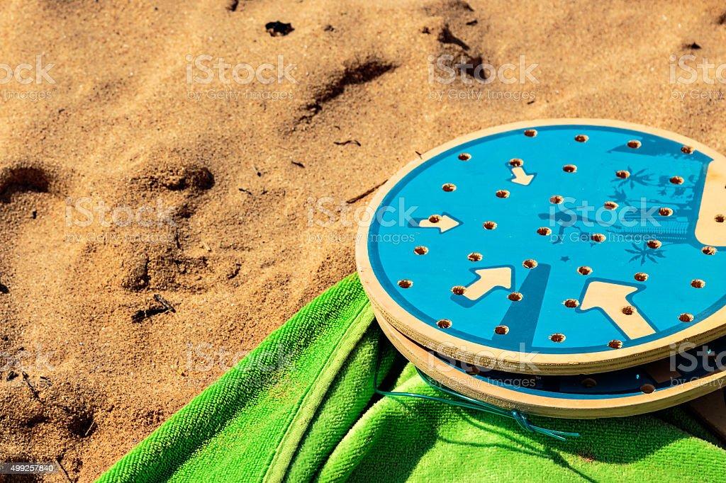 Beach tennis rackets. stock photo