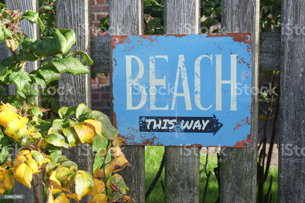 beach.... this way stock photo