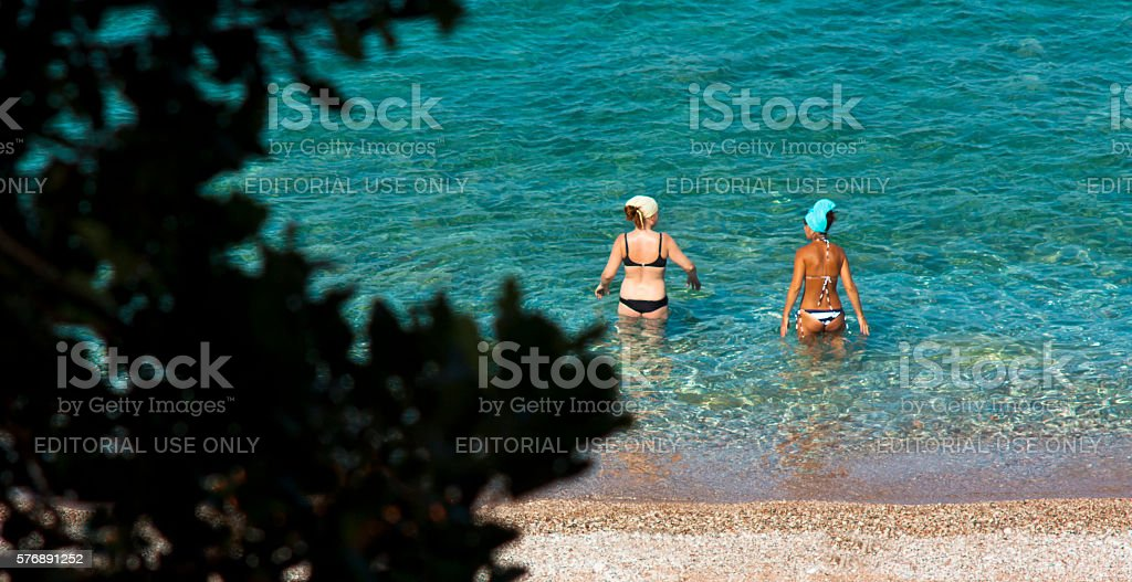 Beach through the trees stock photo