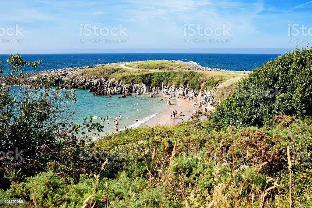 Beach Togo and Punta Radon, Llanes, Asturias, Spain stock photo