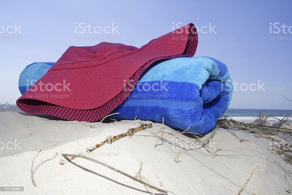 beach tossed bucket hat stock photo