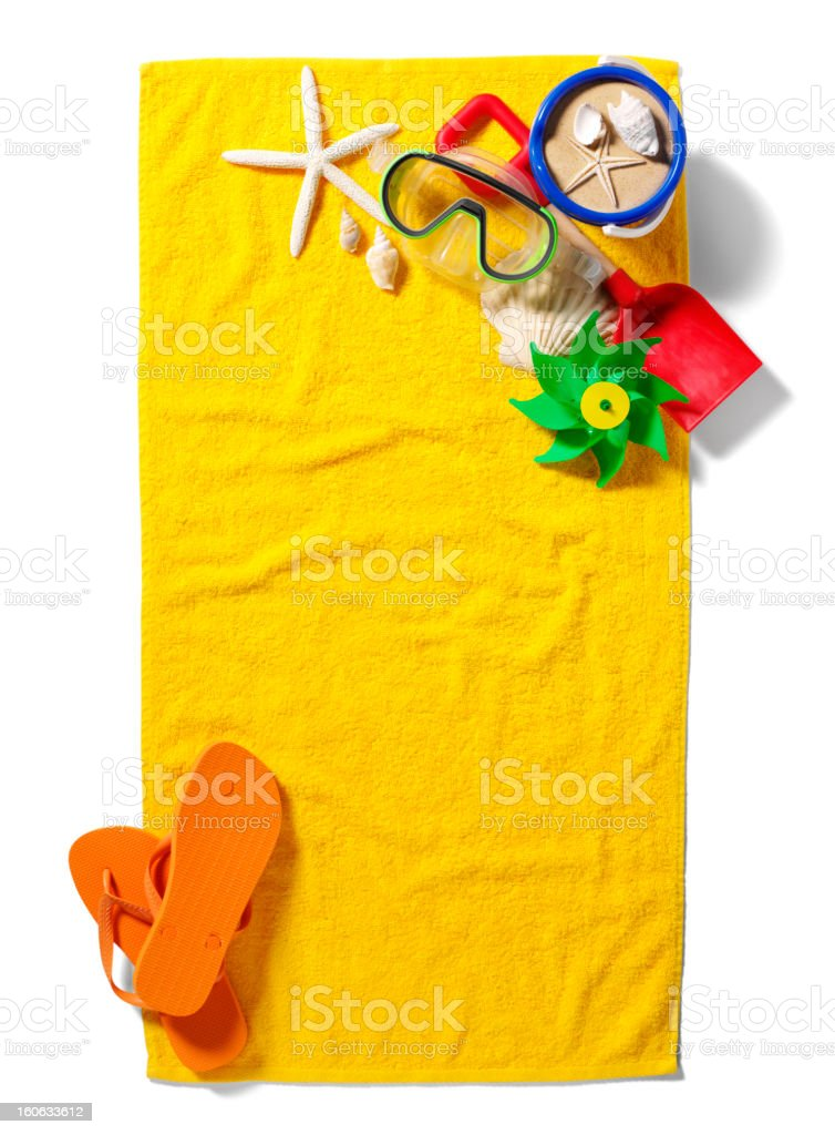 Beach Towel with a Corner of Summer Accessories royalty-free stock photo