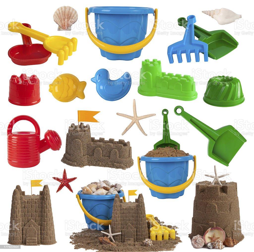 Beach toys and sand castles stock photo