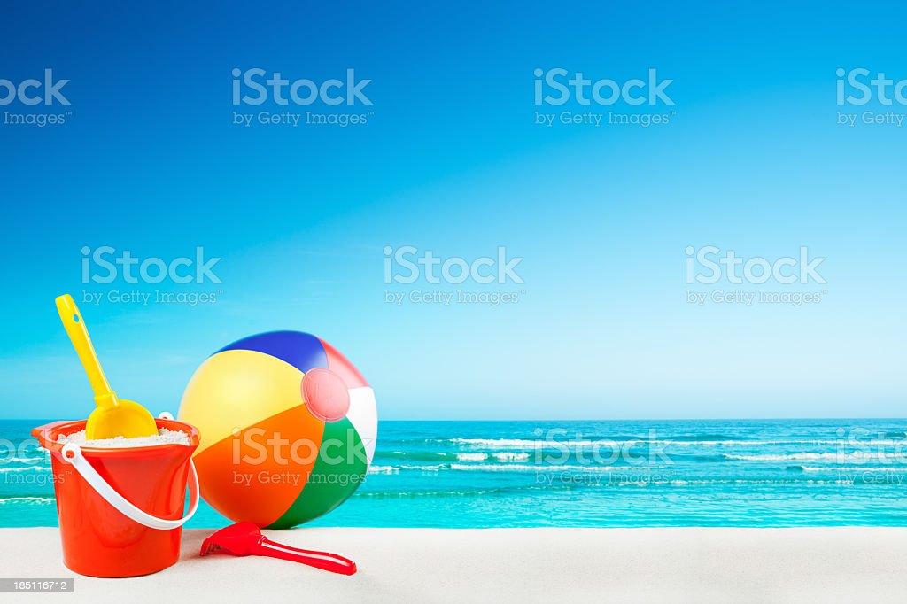 Beach toys on the beach on a clear sunny day stock photo