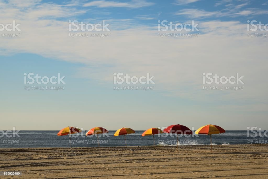 Beach Umbrella Array stock photo