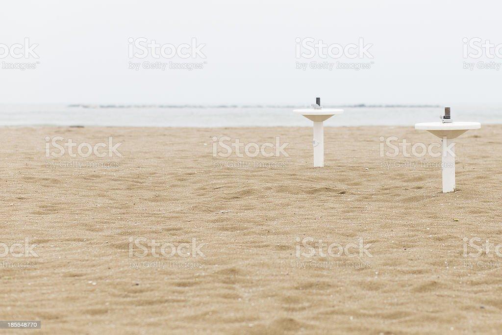 beach umbrella holder in autumn royalty-free stock photo