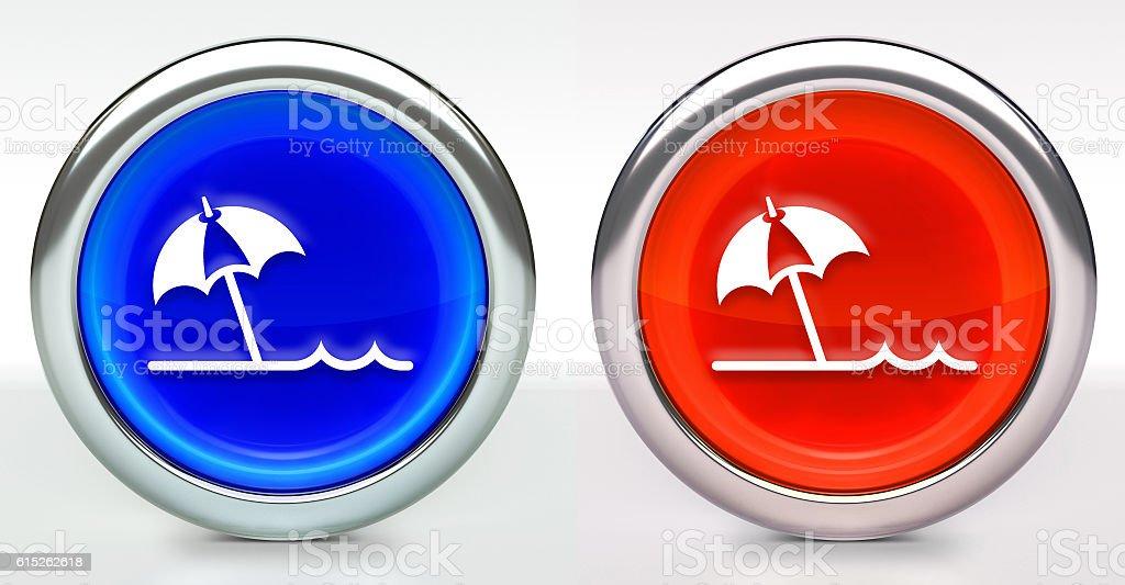 Beach Umbrella Icon on Button with Metallic Rim stock photo