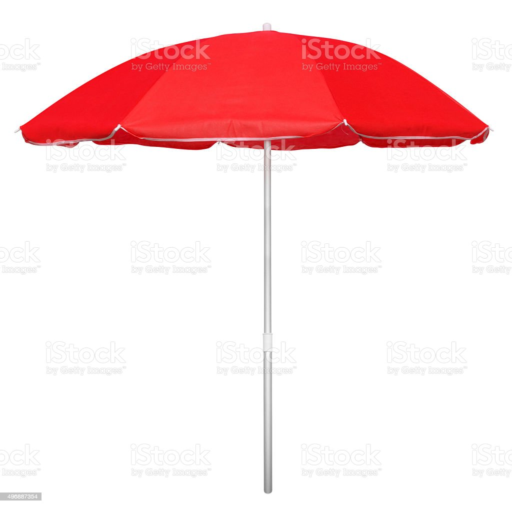 Beach umbrella - red stock photo