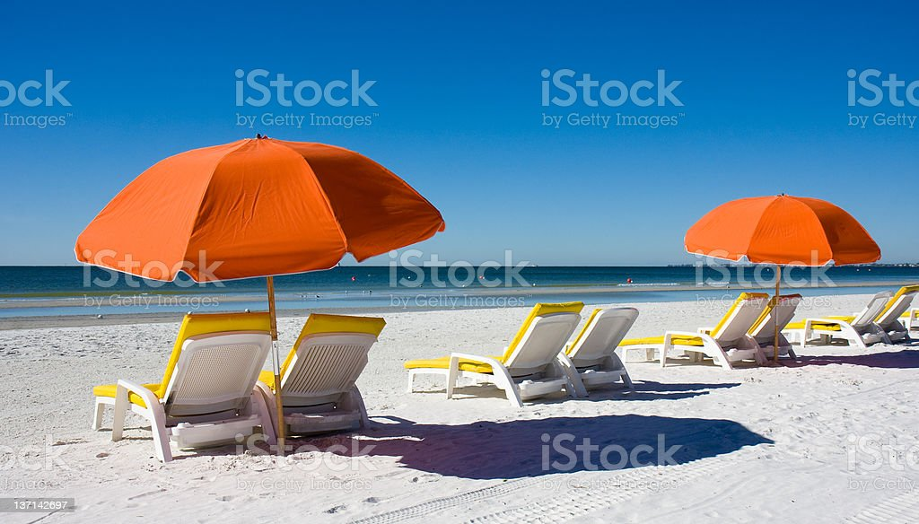 Beach Umbrellas and Lounge Chairs royalty-free stock photo