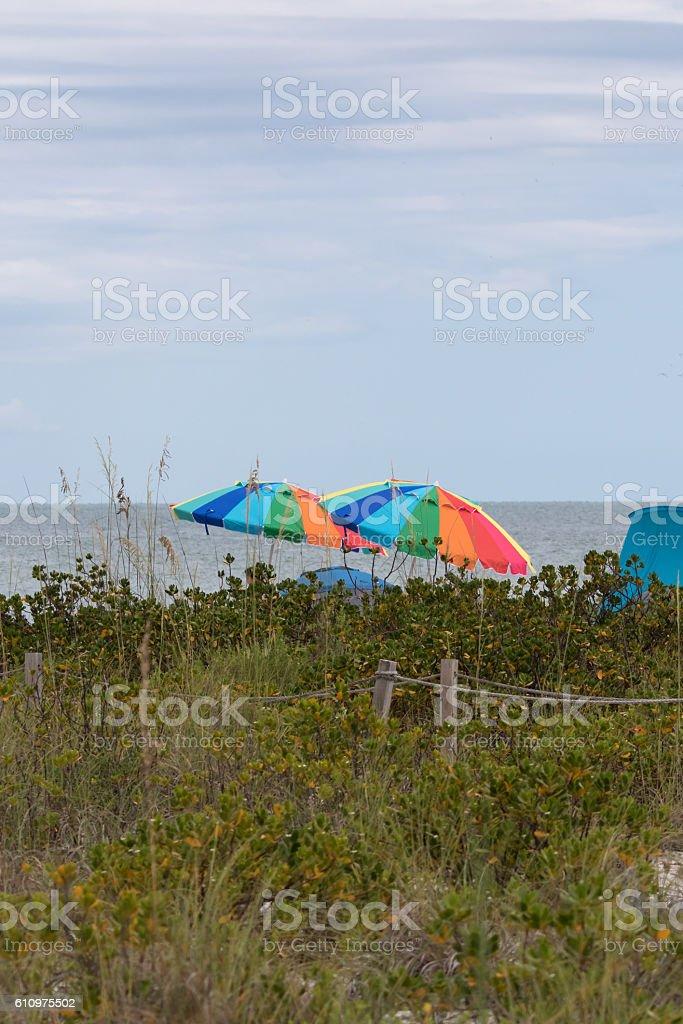 Beach Umbrellas, Sanibel Island, Florida stock photo