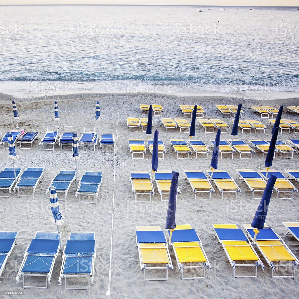 beach umbrellas with chairs royalty-free stock photo