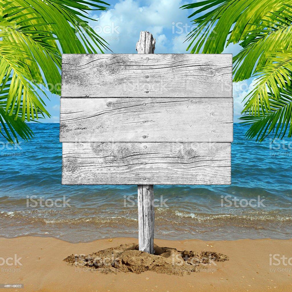 Beach Vacation Blank Sign stock photo