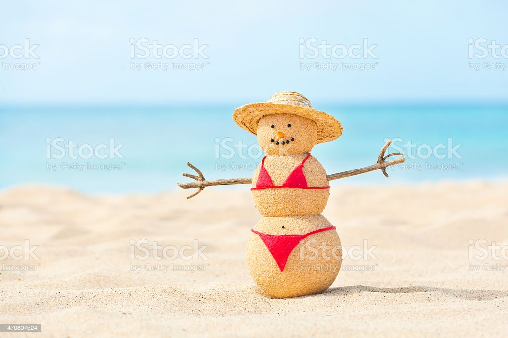 Beach Vacation Holiday on Tropical Paradise, Woman Sandman in Bikini stock photo