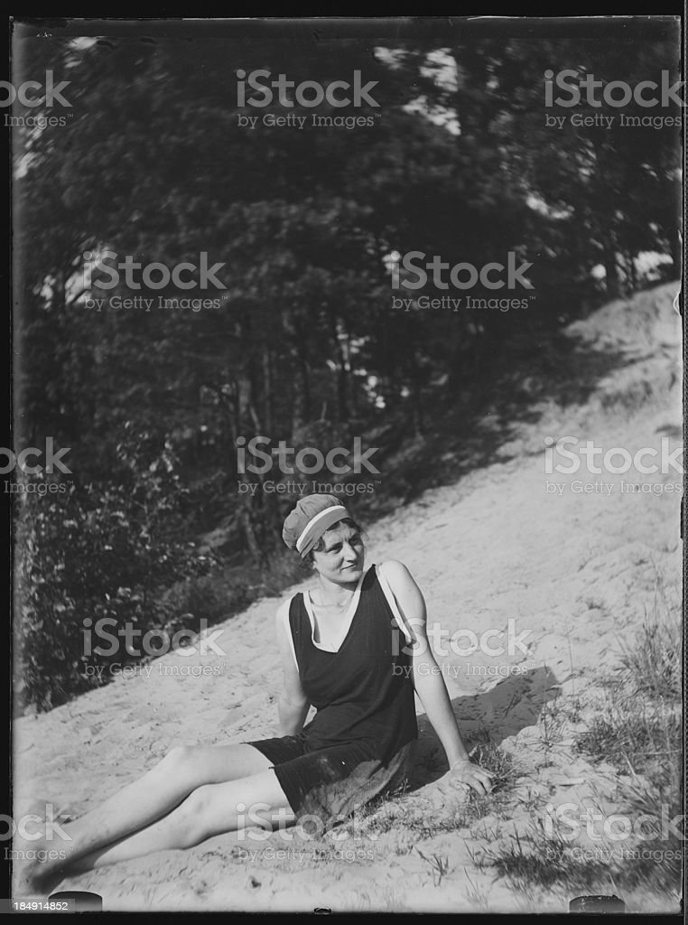 Beach vacation in the 1920s (vintage) royalty-free stock photo