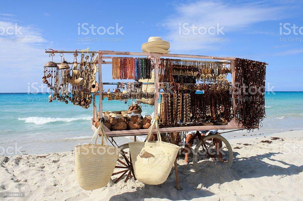 Beach Vendor from Cuba-Souvenir kiosk royalty-free stock photo