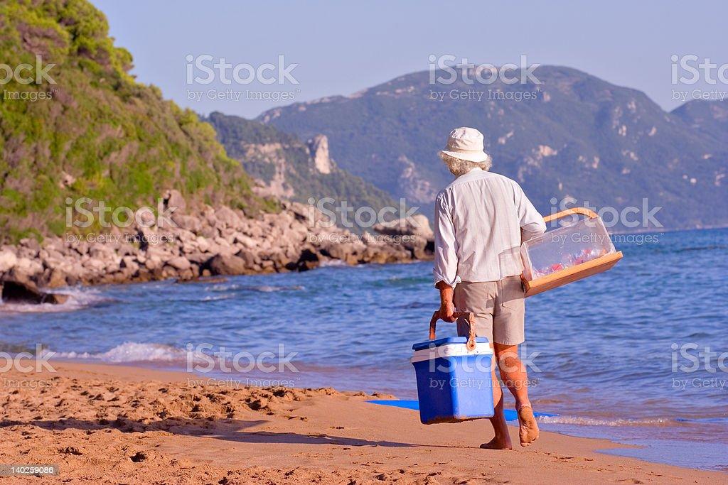 Beach vendor stock photo