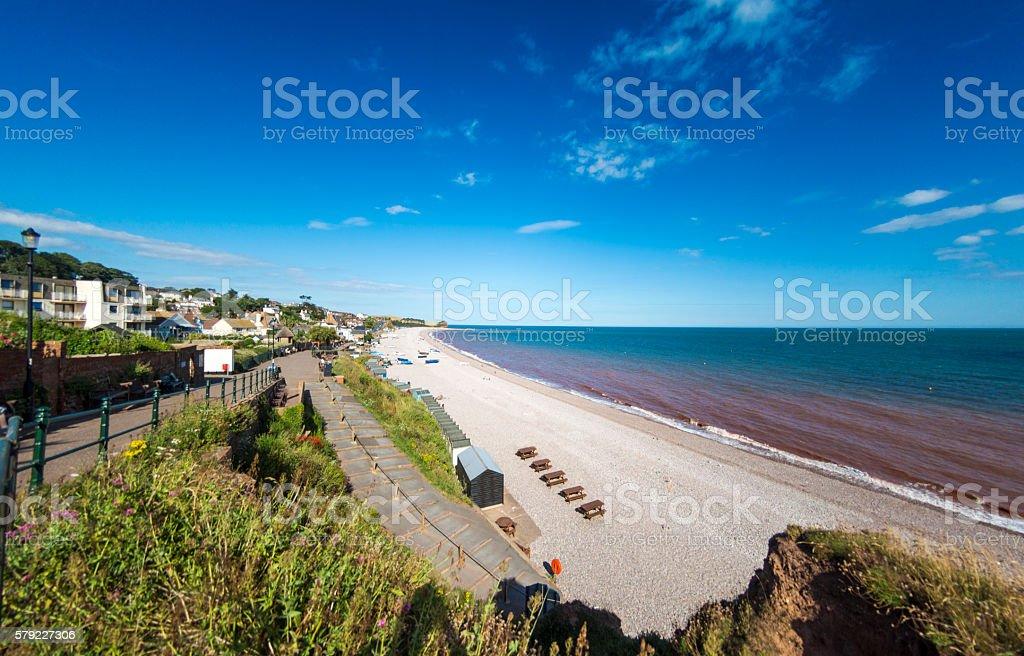 Beach view at Budleigh Salterton in Devon stock photo