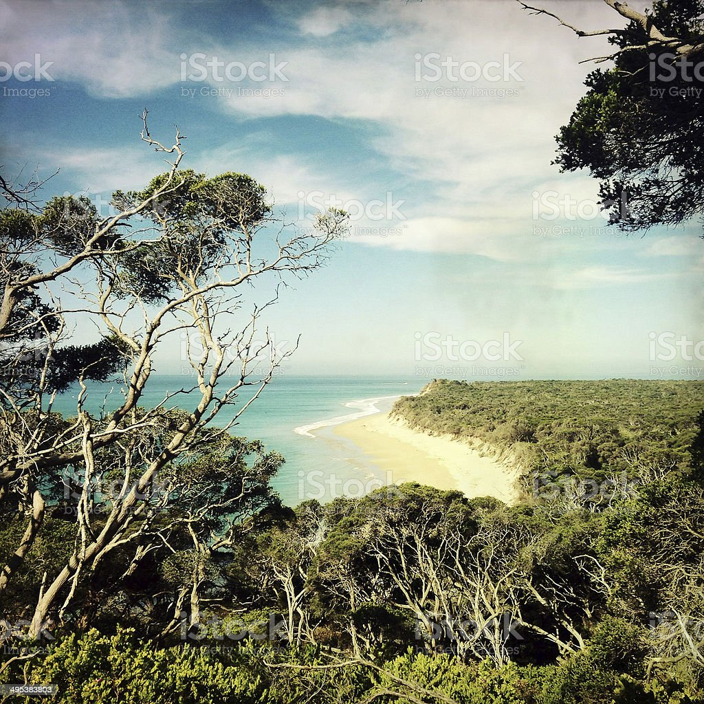 Beach view at Portsea Reserve, Australia stock photo