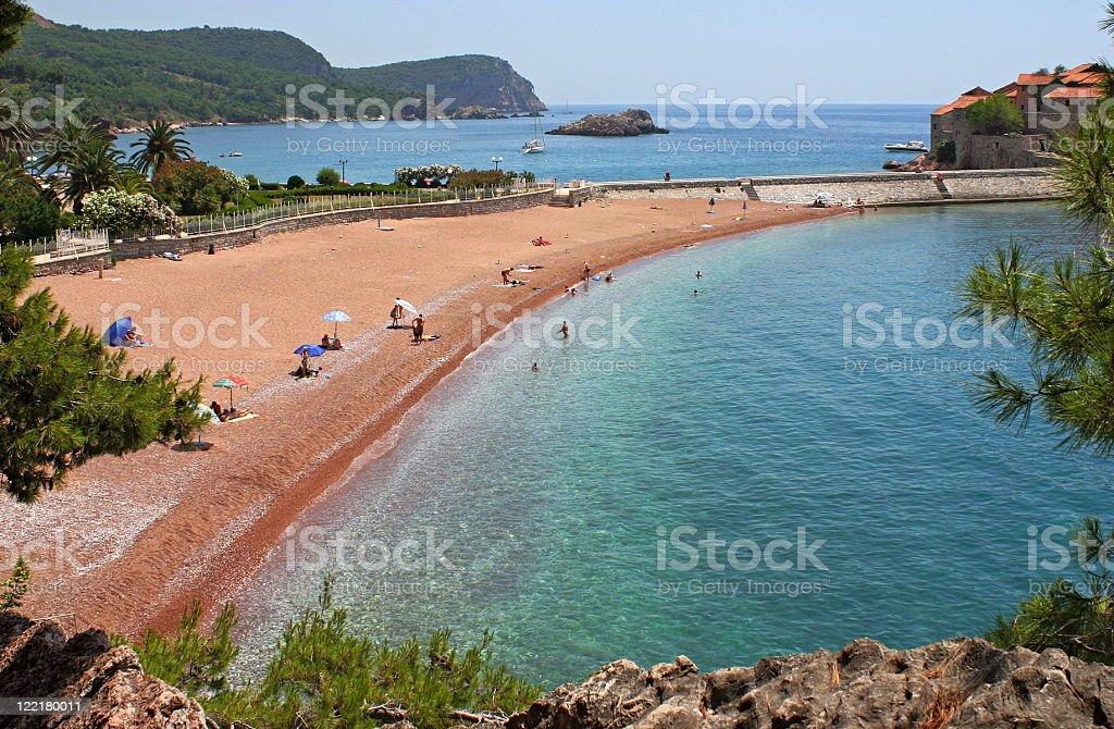 Beach view, Montenegro stock photo