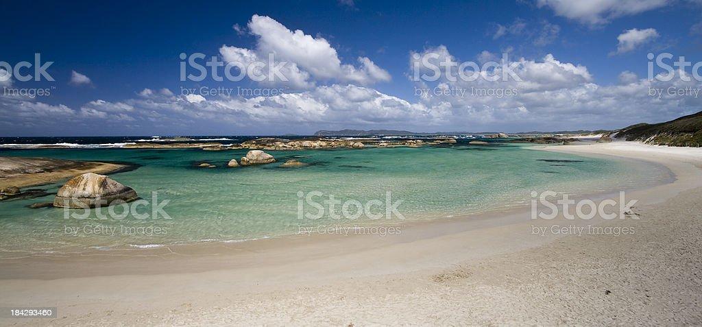 Beach view of Elephant Rocks and a blue sky stock photo